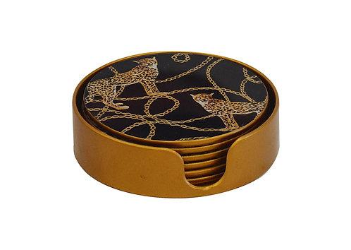 Glass Coasters Leopard Chain