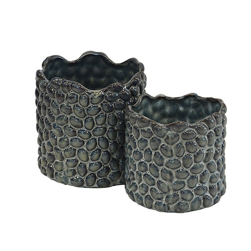 Sky Blue Pebble Votives Set of 2