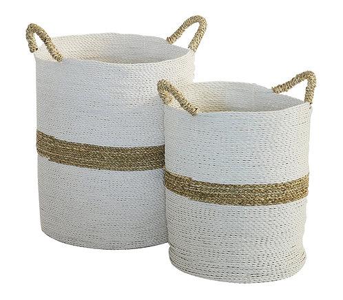 Basket Palececk Round White & Natural