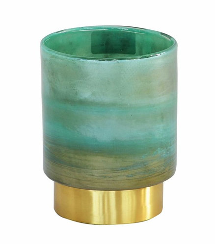 Lustre Wax Candle Holder Green