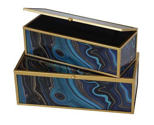 Glass Box Metal Frame Blue Dust