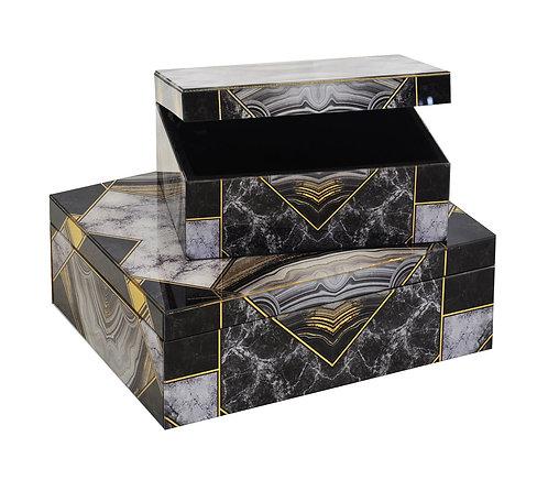 Glass Box Geometric Black Agate