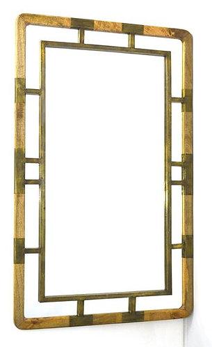 Wooden Brass Clad Mirror