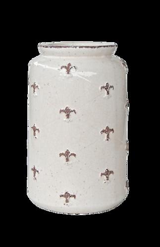 Cream Crackle Fleur De Lis Jar
