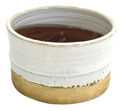 Pot White Glaze Natural Bottom