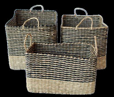Black & Natural Stripe Oval Basket (S)