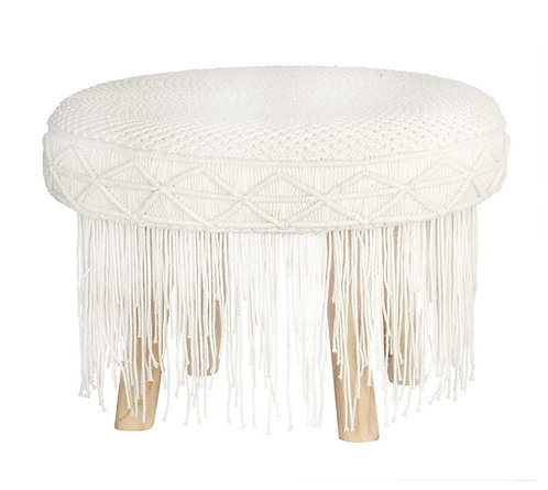 Macrame Stool with White Tassels