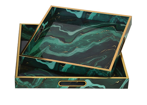 Glass Tray Square Green