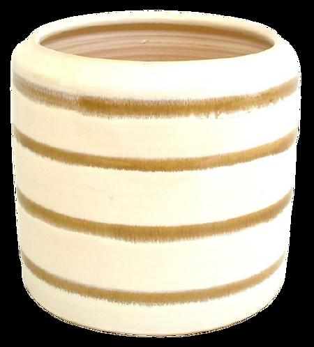 Pot White Glaze with Grey Stripe