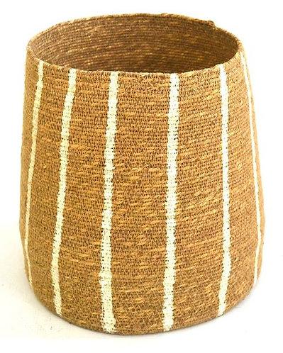 Basket Vertical Stripes Natural & White