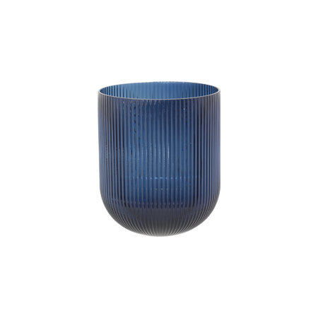 Blue Ribbed Vase