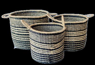 Black & Natural Multi Stripe Basket
