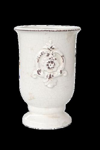 Cream Crackle Jar with Emblem