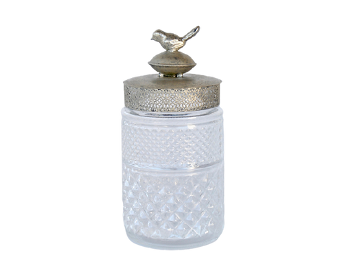 Glass Jar Metal Bird Lid Medium