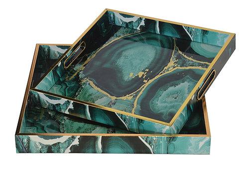 Glass Tray Square Green Stone