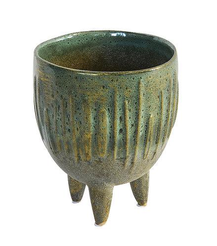 Ceramic Speckled Sage Tripod Green Large