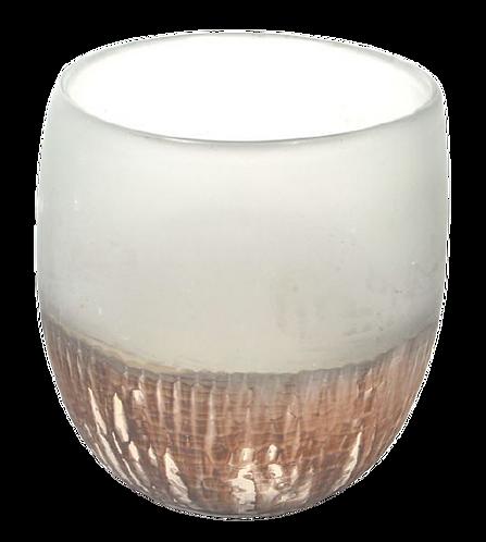 Vase Glass Ghisai White Blue Oxidized
