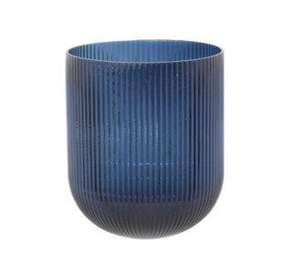 Blue Ribbed Vase