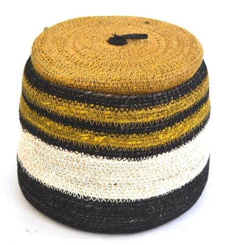 Basket with Lid Black White & Mustard