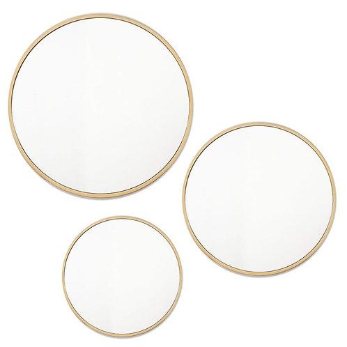 Gold Round Mirror Set of 3