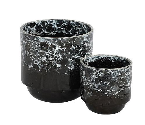 Ceramic Black Marble Cactus Pot