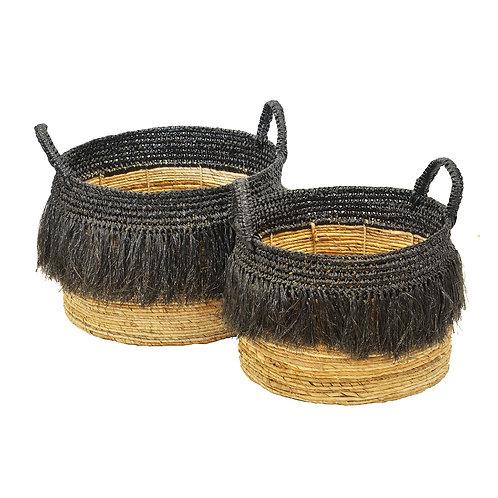 Basket Mendong Tassel Natural/Black Large