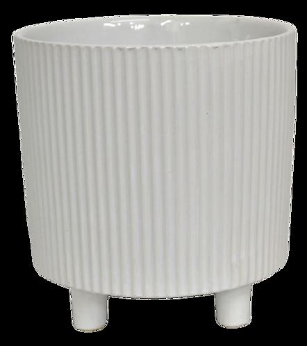 Pot with Ridges on Feet White