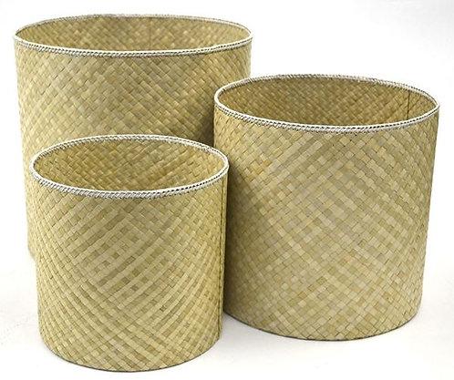Wastepaper Bin Natural White Edging