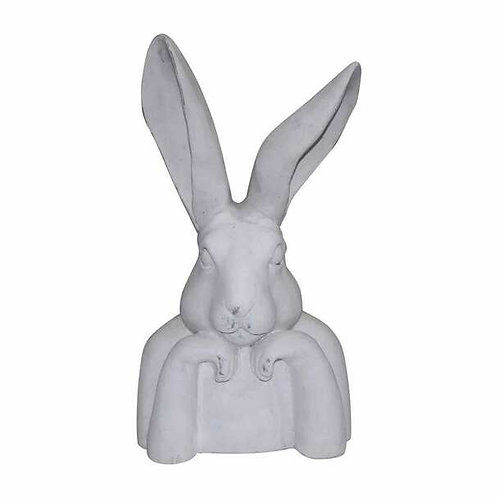 White Ceramic Bunny Thinking