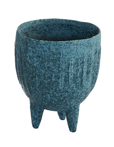 Ceramic 3Legged Pot Large Indigo