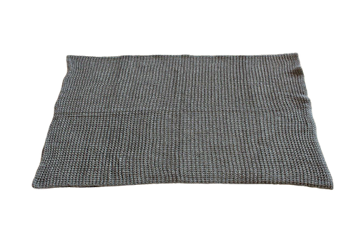 Throw Moss Stitch Charcoal Knitted