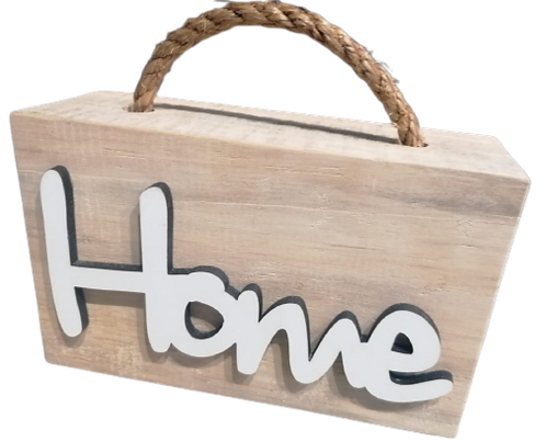 Wooden Doorstop with White Word Home