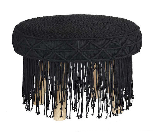 Macrame Stool with Black Tassels