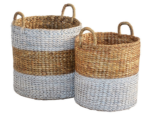 Basket Hyacinth mix White Round