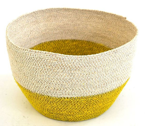Bowl Basket Yellow & White