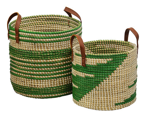 Seagrass Basket Ikat Green