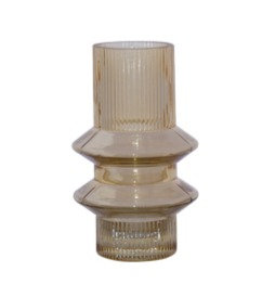 Double Ring Amber Ribbed Vase