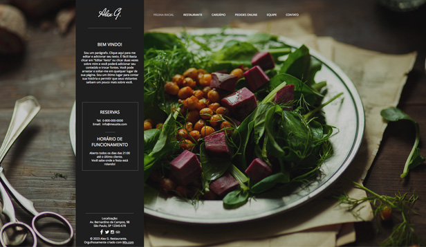 Restaurantes e Comida website templates – Site de Restaurante