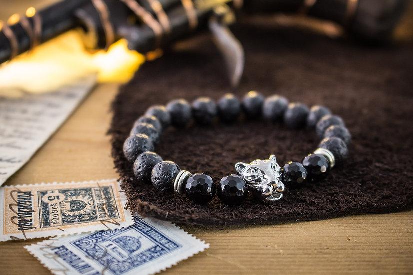 Lava stone & faceted onyx beaded stretchy bracelet