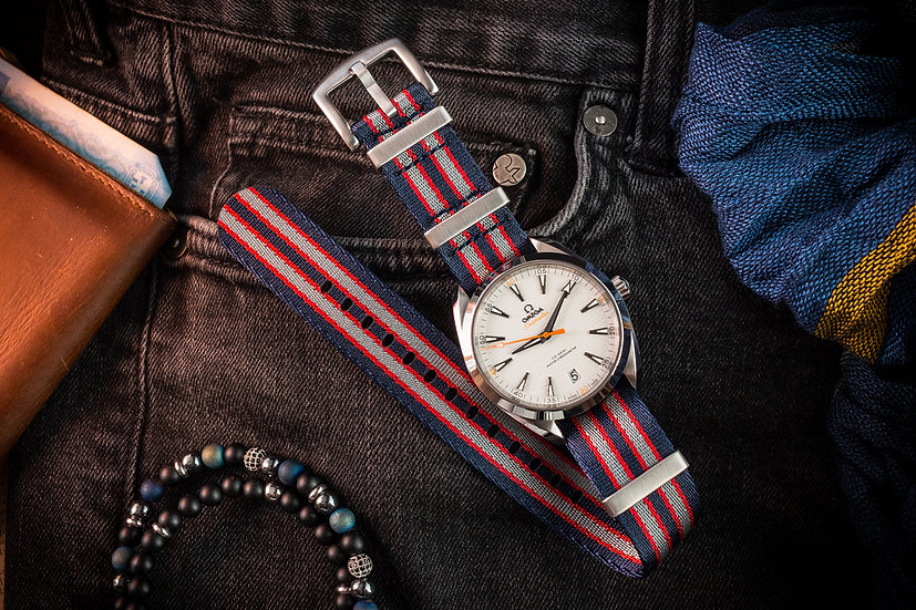 Navy Blue, Red and Gray Seatbelt NATO Watch Strap