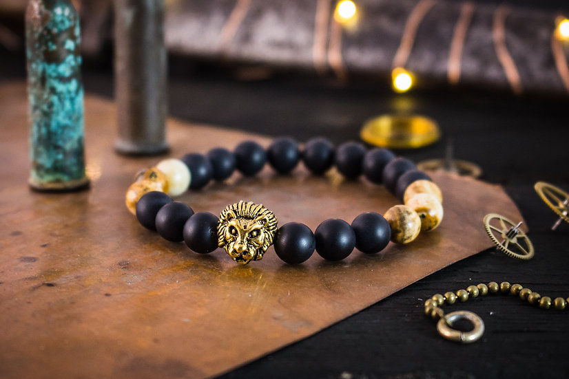 Matte black onyx, brown jasper beaded stretchy bracelet with gold Lion