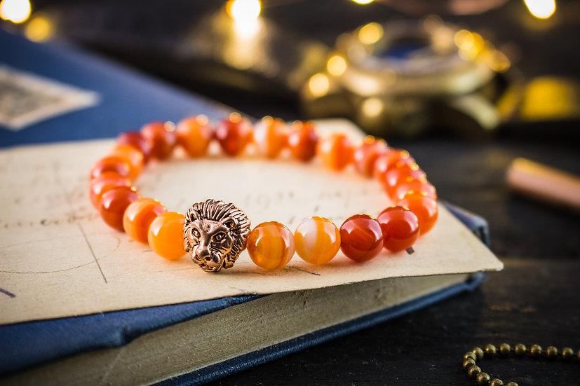 Orange agate beaded stretchy bracelet with rose gold lion