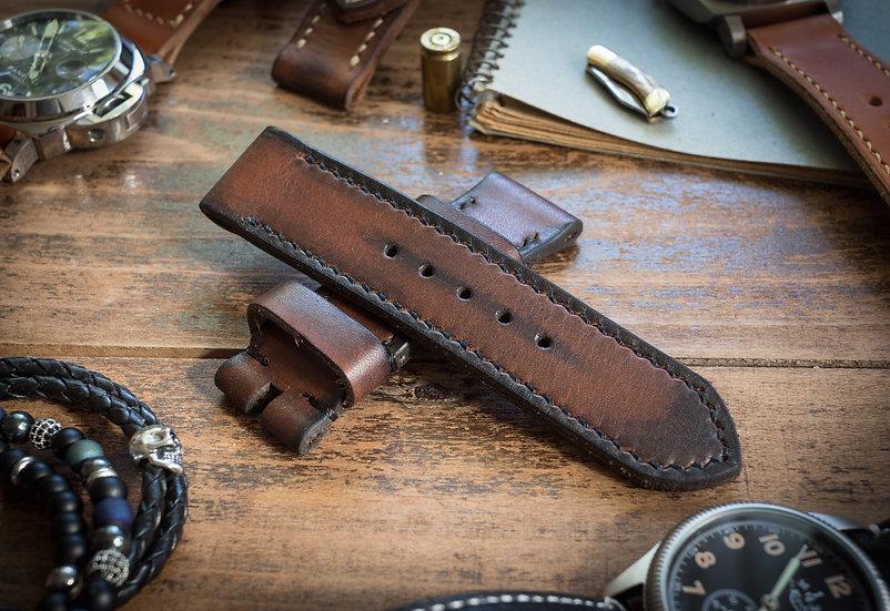 Antiqued handmade 24mm dark brown leather strap 124/85mm