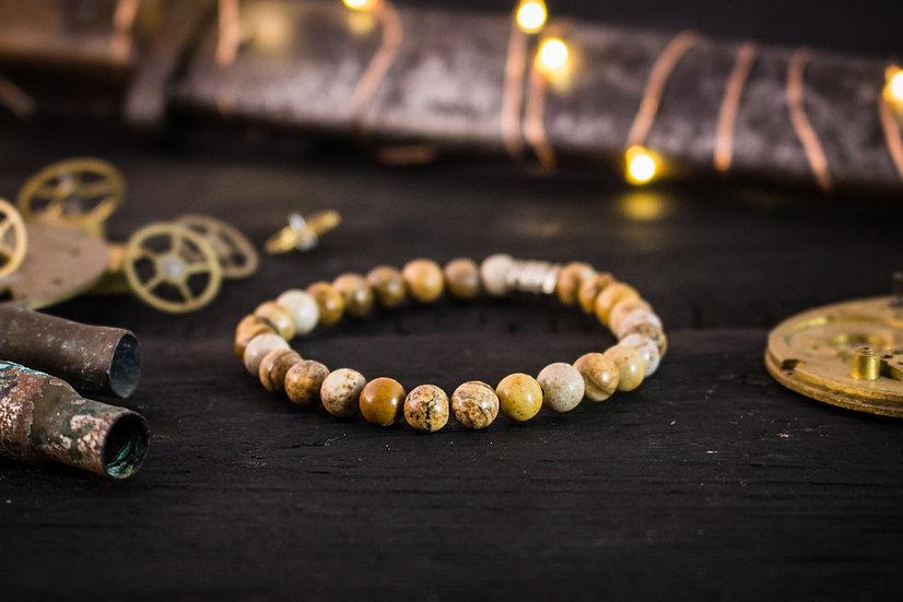 Brown jasper stone beaded stretchy bracelet