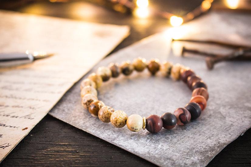 Jasper & dream agate beaded stretchy bracelet