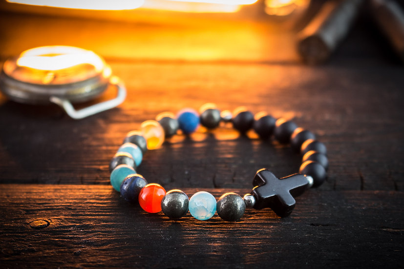 Black Onyx & various natural colorful beaded stretchy bracelet with black cross