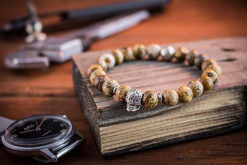 Jasper stone beaded stretchy bracelet with silver skull