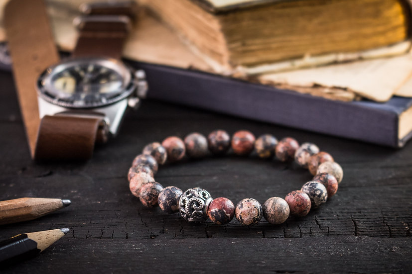 Leopard skin beaded stretchy bracelet with sterling silver bead