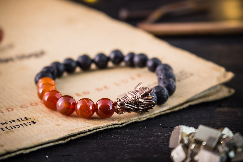 Lava stone & orange agate beaded stretchy bracelet with rose gold Dragon