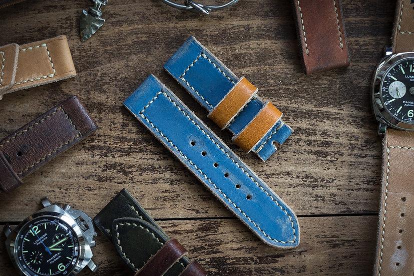 Antiqued handmade 24mm oiled, dark pastel blue leather strap 129/80mm